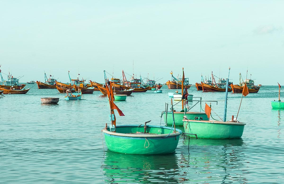 circle boats at the fishing village in mui ne vietnam
