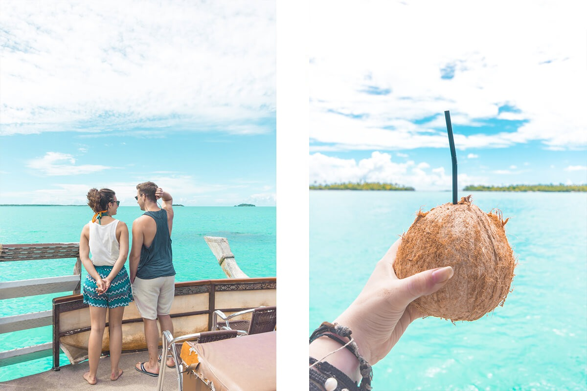 coconut on the aitutaki lagoon