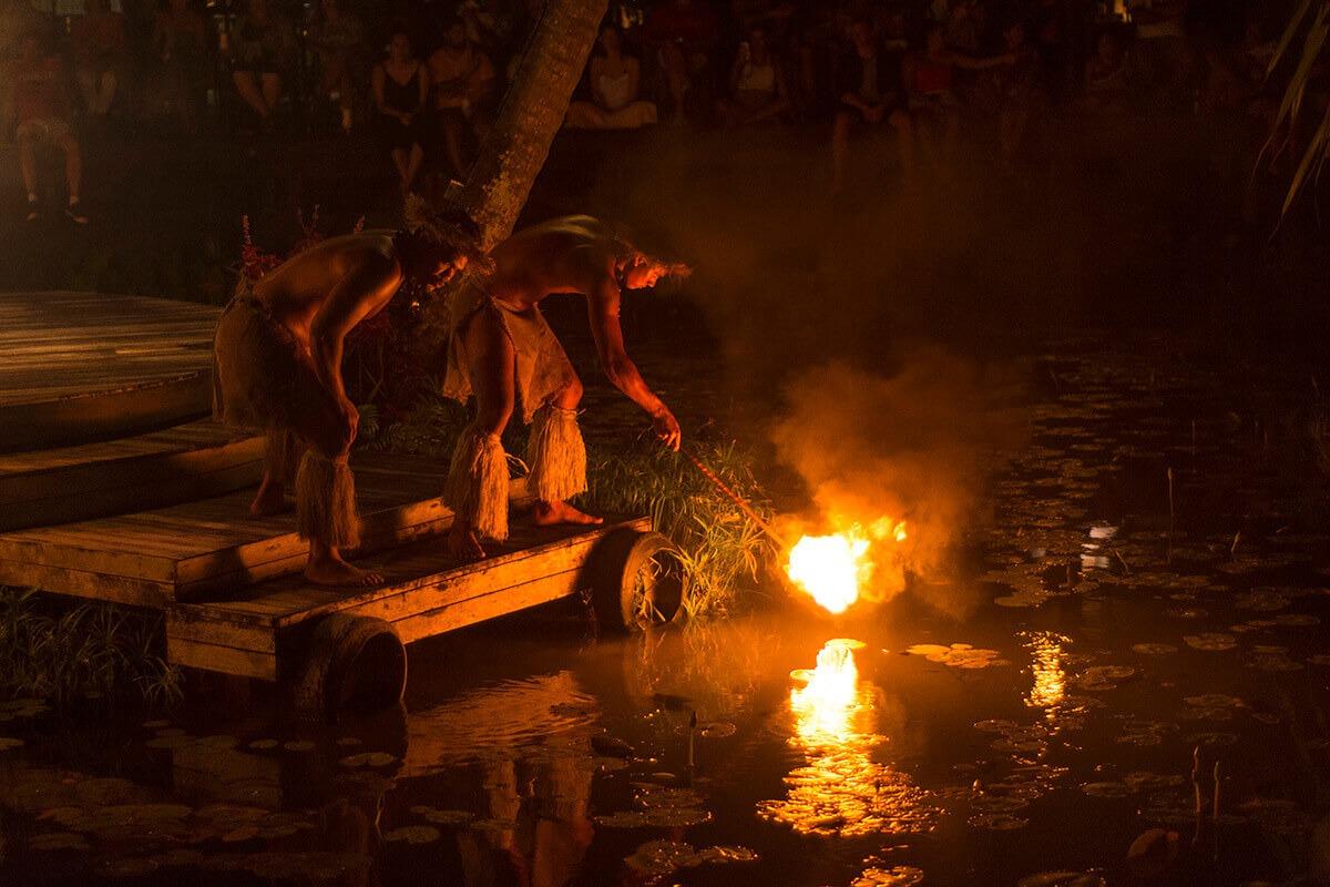 Fire show at Te Vara Nui
