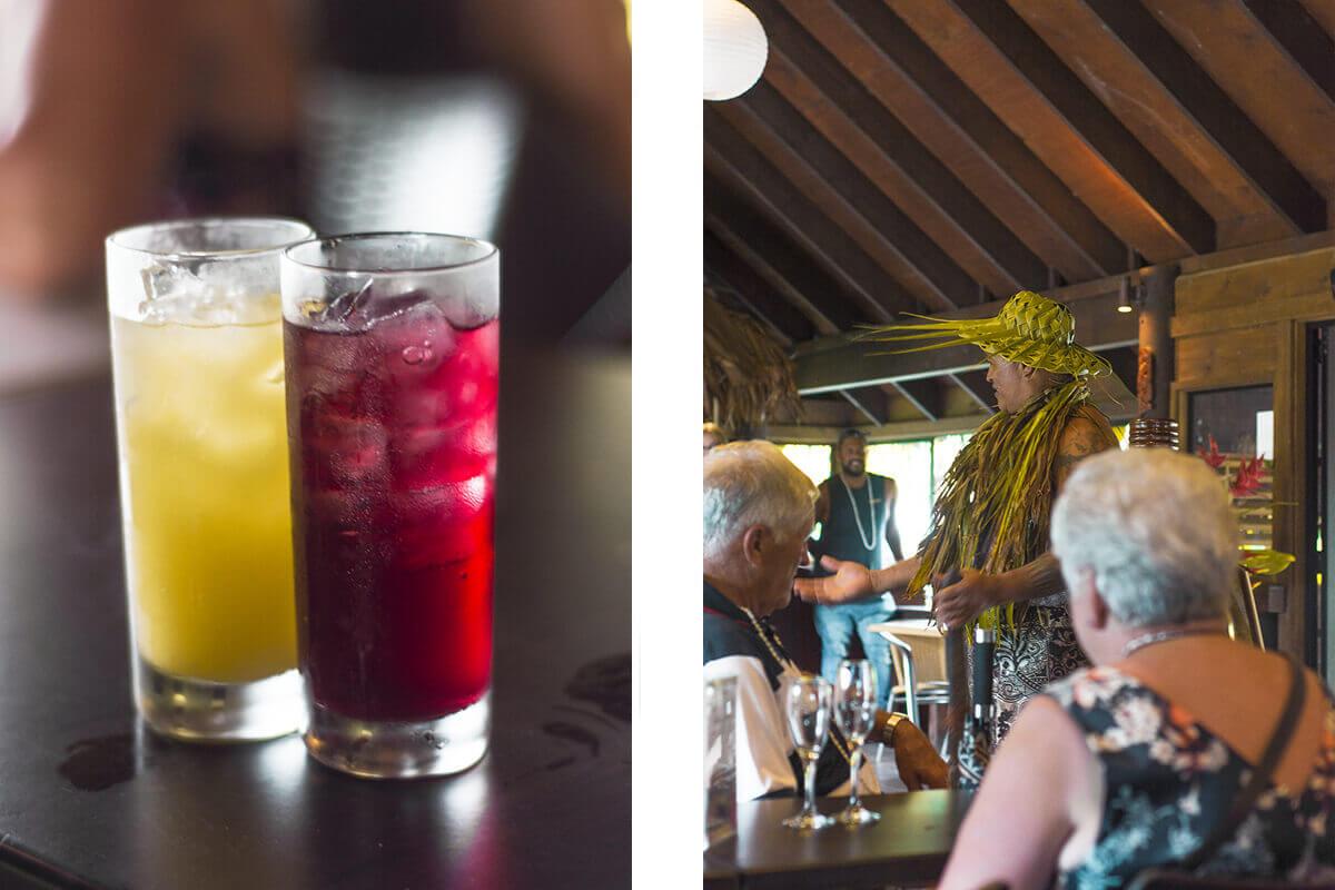 getting a welcome drink at te vara nui