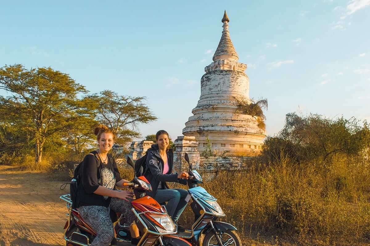 riding ebikes around backpacking bagan