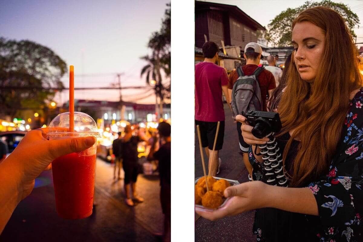 filming strawberry smoothie and cheese balls at the chiang mai sunday walking market