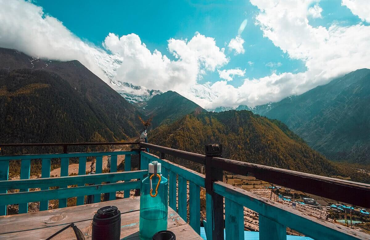 view from teahouse annapurna circuit itinerary