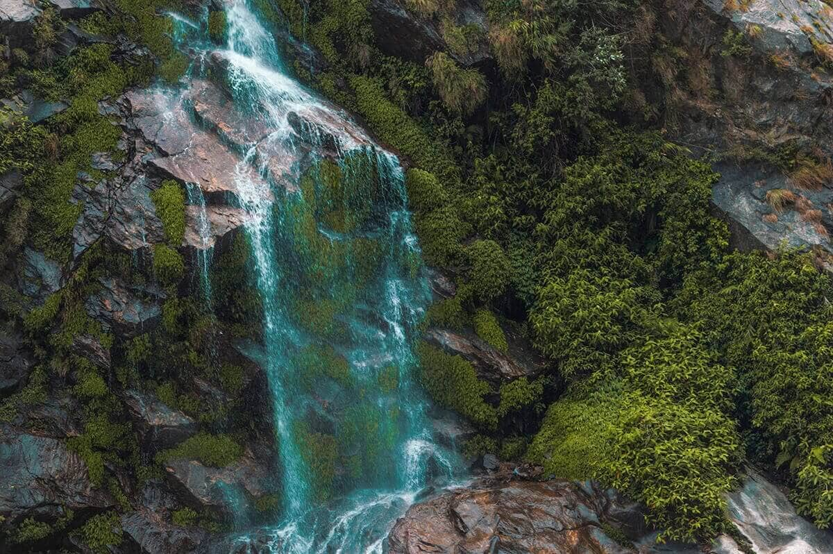 waterfall in tal on the annapurna circuit