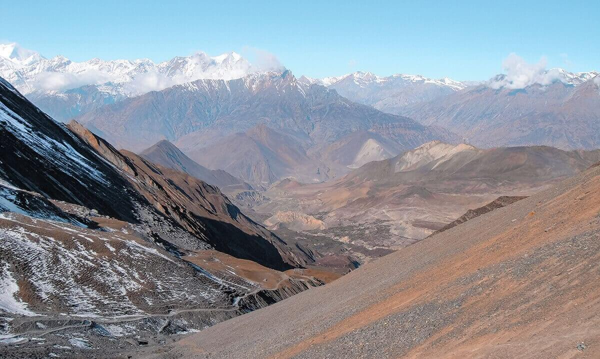 views down high camp to muktinath over thorong la pass on the annapurna circuit