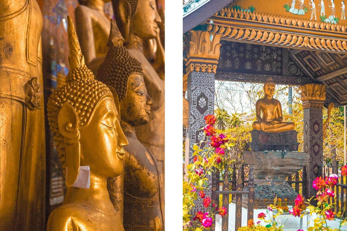 golden buddhas in luang prabang