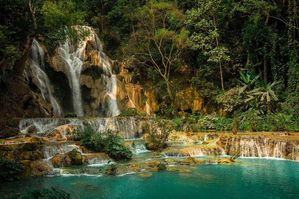kuang si falls in the dry season backpacking laos on a budget