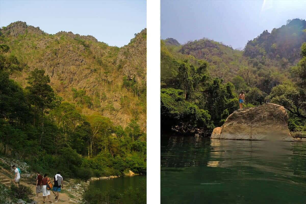 jumping off rocks into river at kong lor cave
