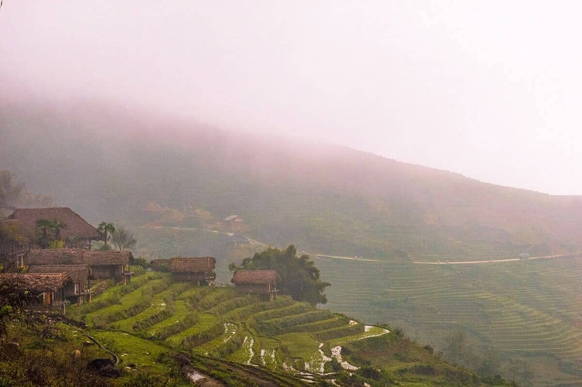 foggy resort views over rice terraces in sapa