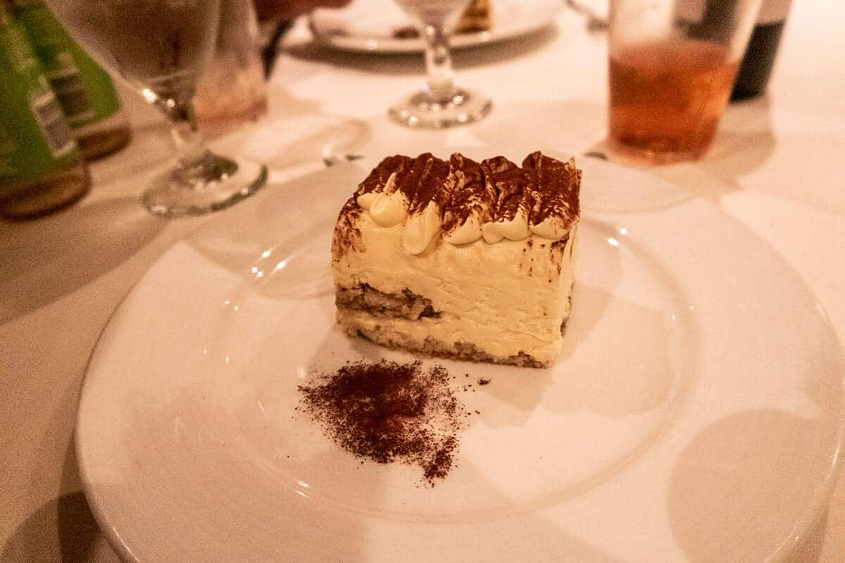 tiramisu cake served in the main dining room carnival spirit