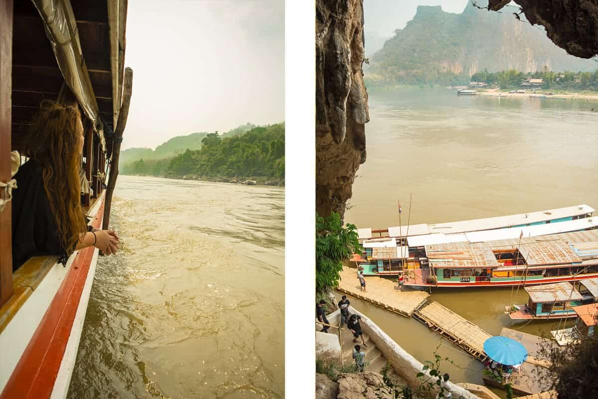 taking a boat to visit pak ou cave in laos