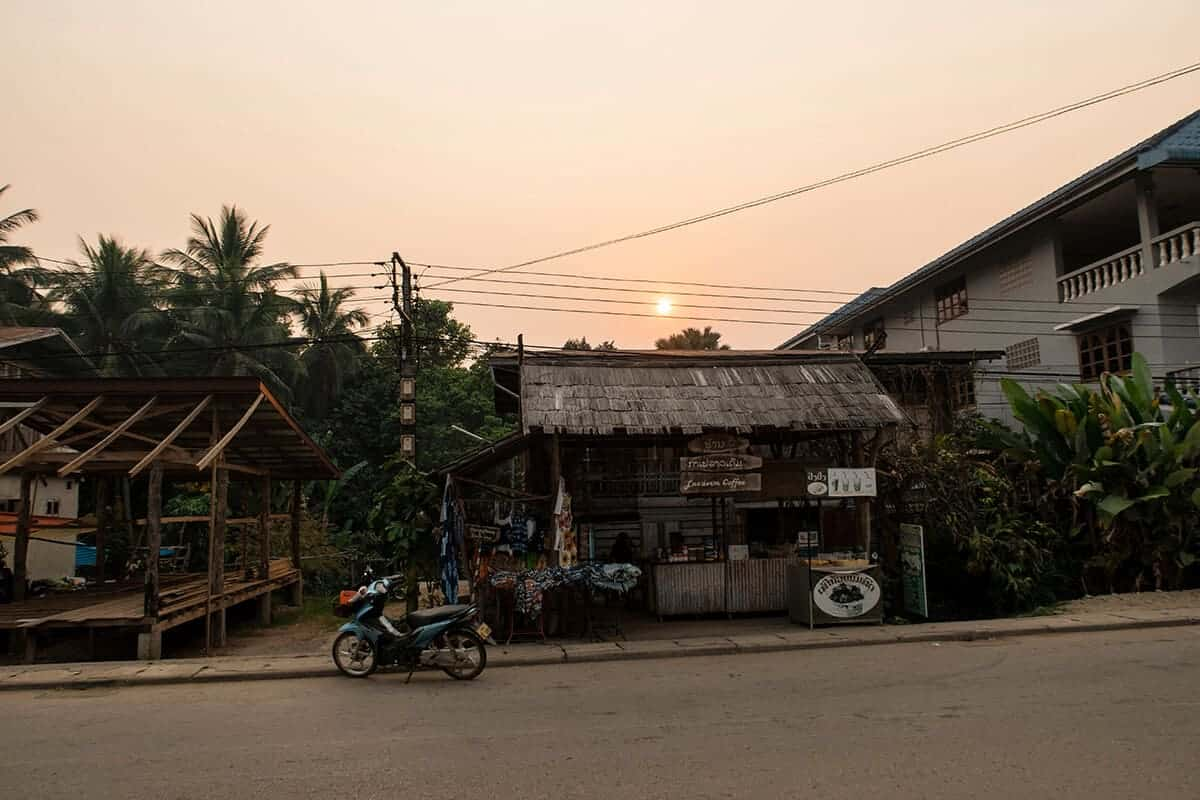 huay xai by sunset in laos after crossing the border from thailand to laos