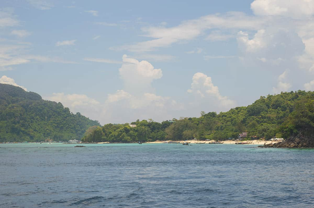 arriving at koh phi phi and the view of long beach