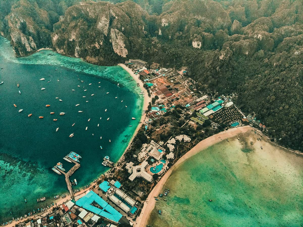overview of the wharf when travel from krabi to koh phi phi