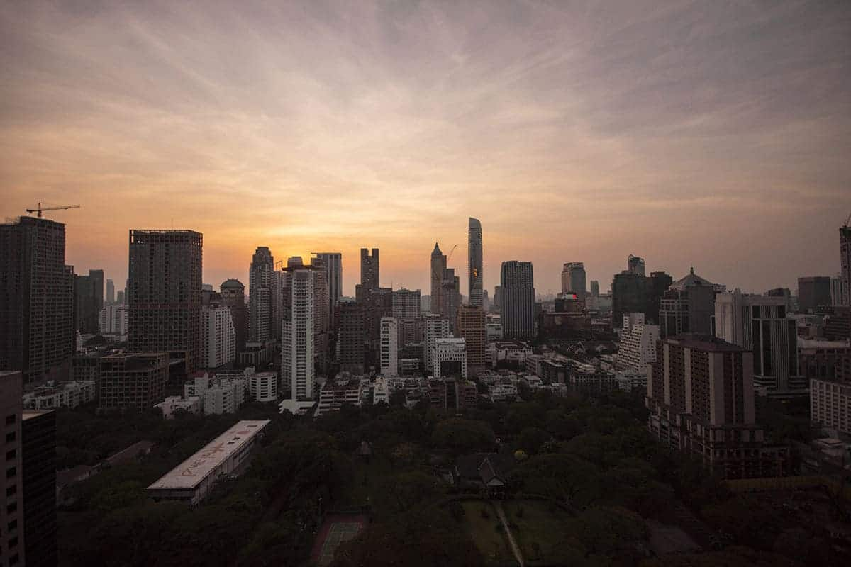 enjoying the sunset in bangkok from one of the sky bars