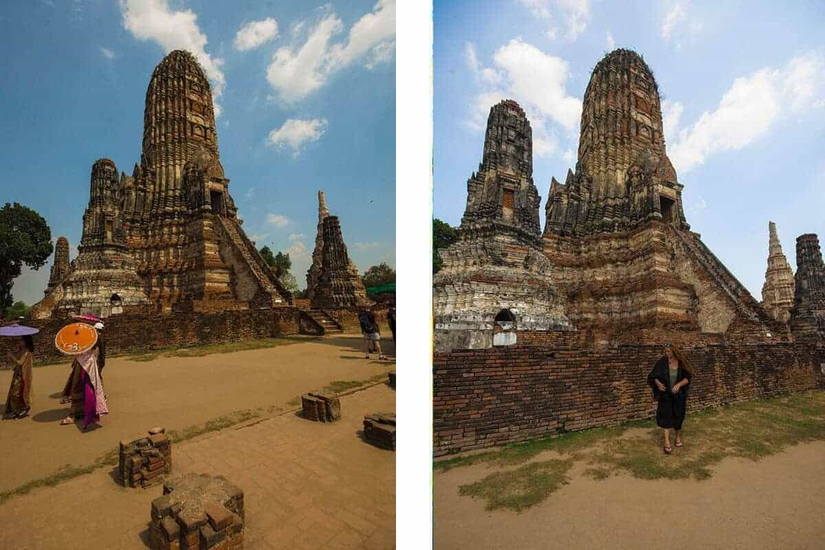 Wat Chai Watthanaram prang and local ladies dressed in traditional clothes