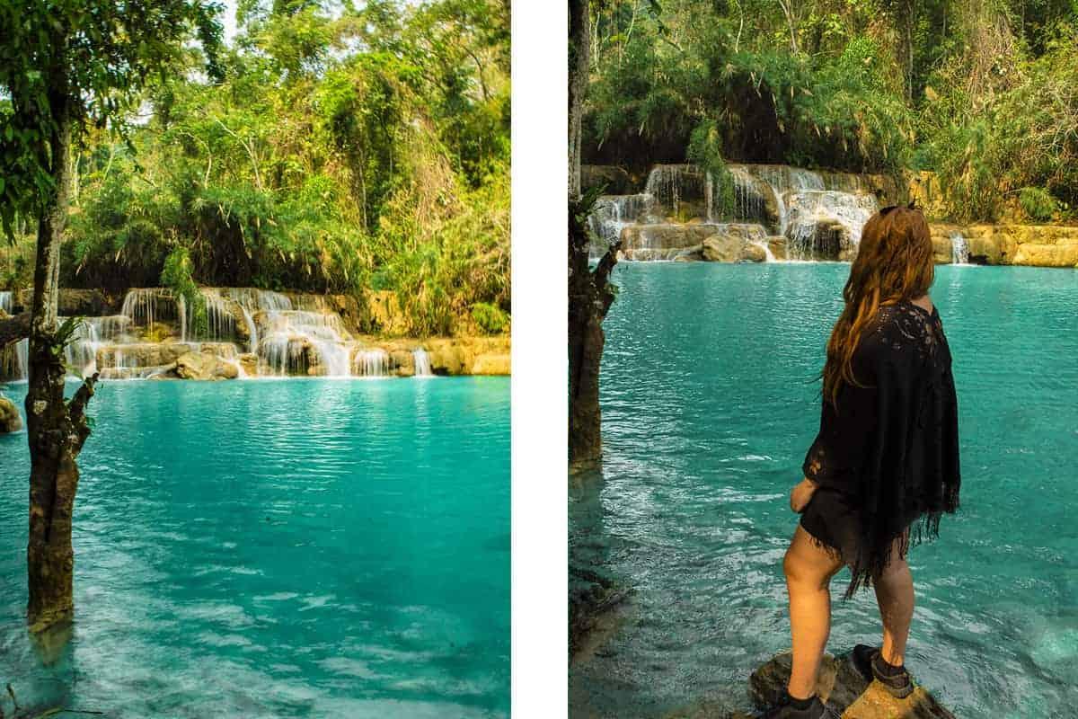 one of the swimming spots at kuang si falls