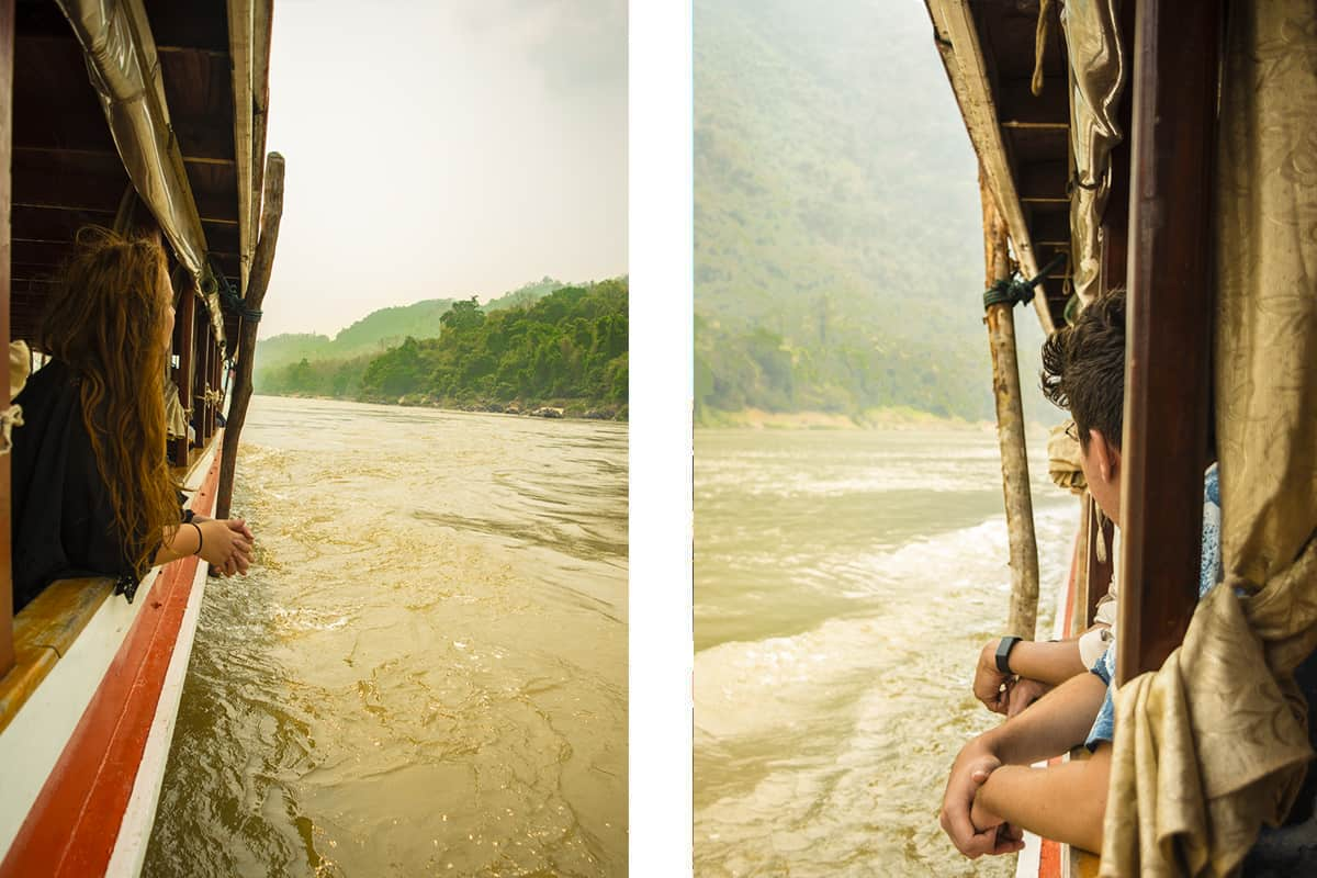views out of the slow boat in laos