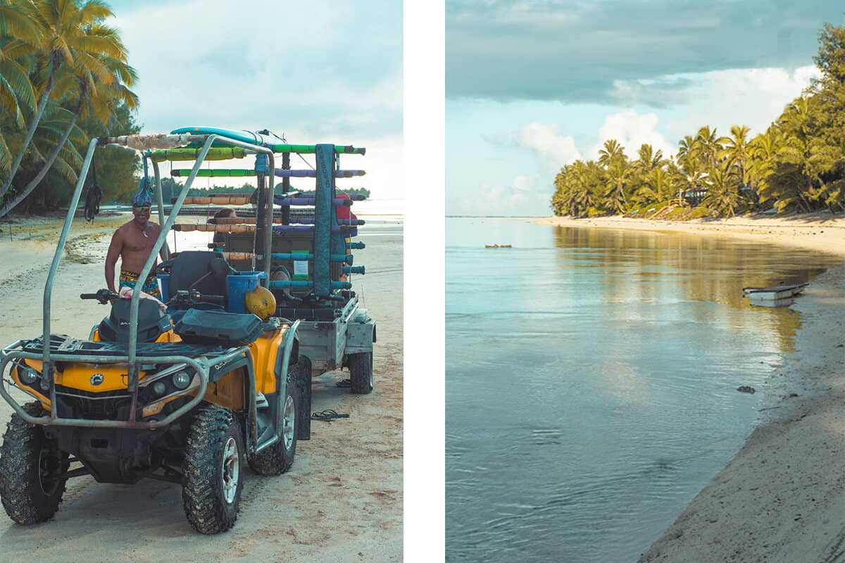 the tractor from ariki adventures with all our gear loaded on