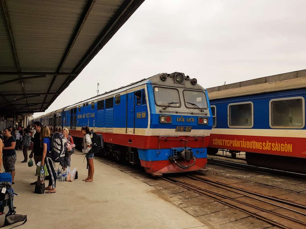 arriving at the train station from hanoi to hue