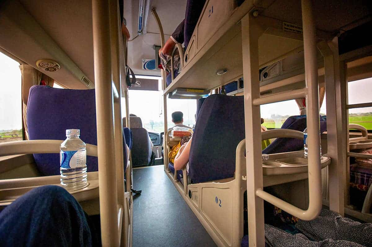 taking a sleeper bus in vietnam. driving through the countryside in a vietnam sleeper bus