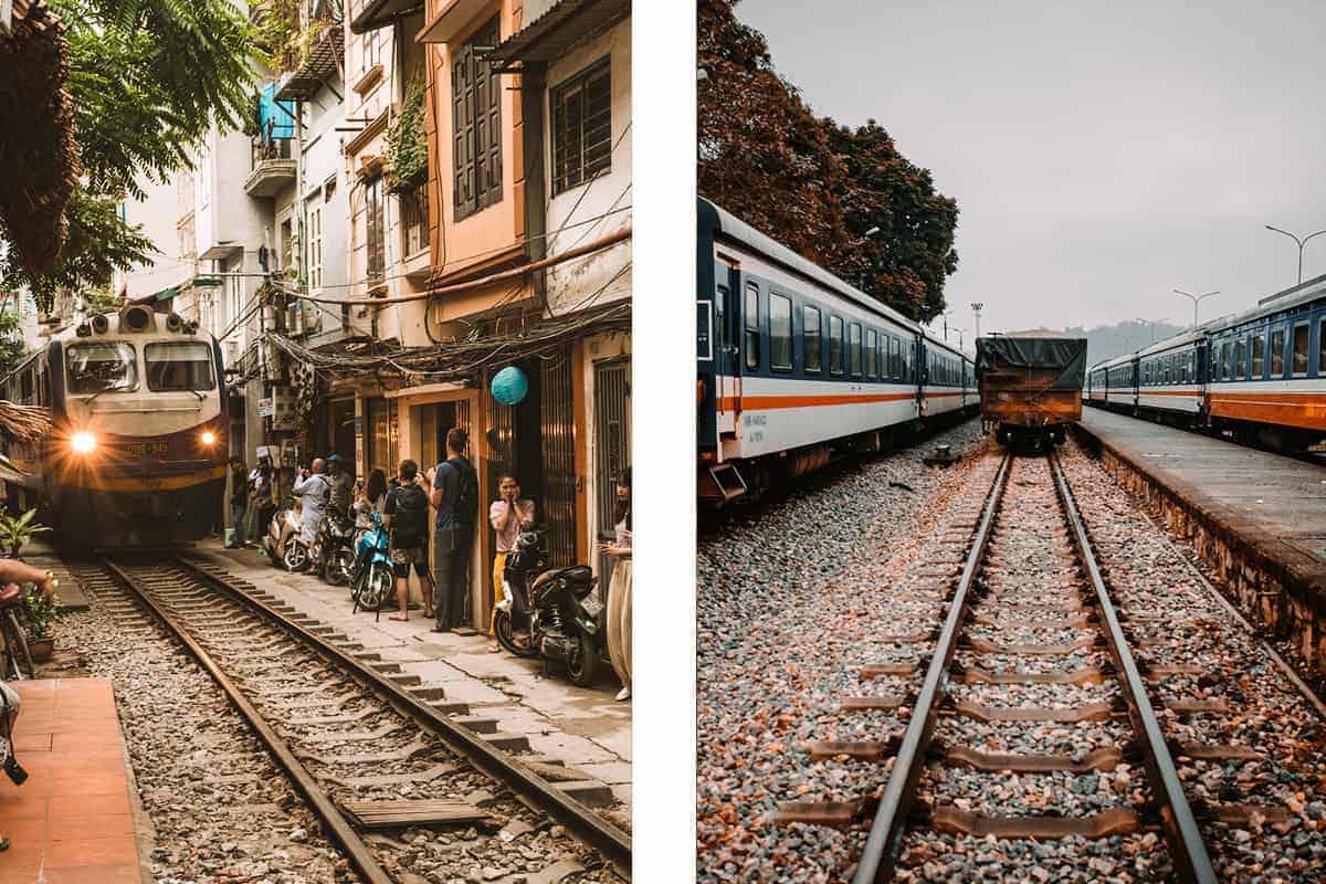 vietnam sleeper train on railway tracks