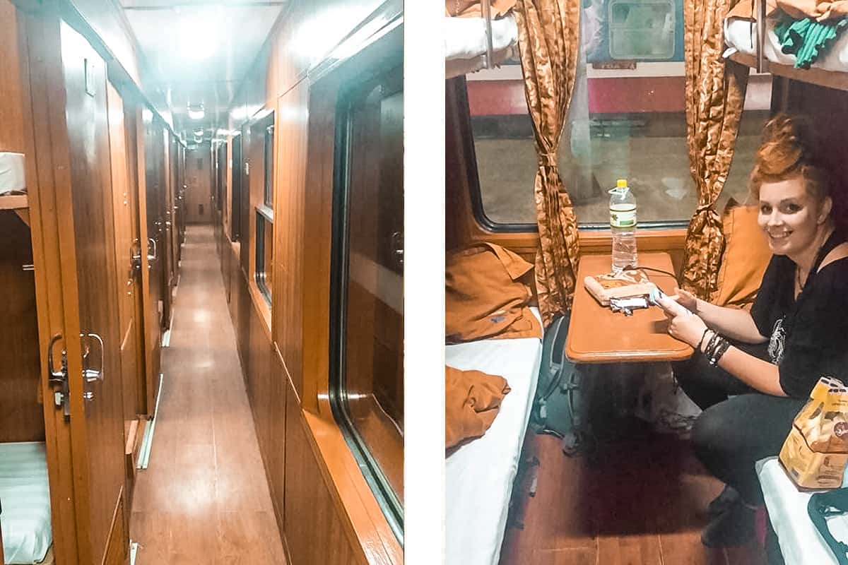 arriving on our sleeper train in vietnam from hanoi to hue